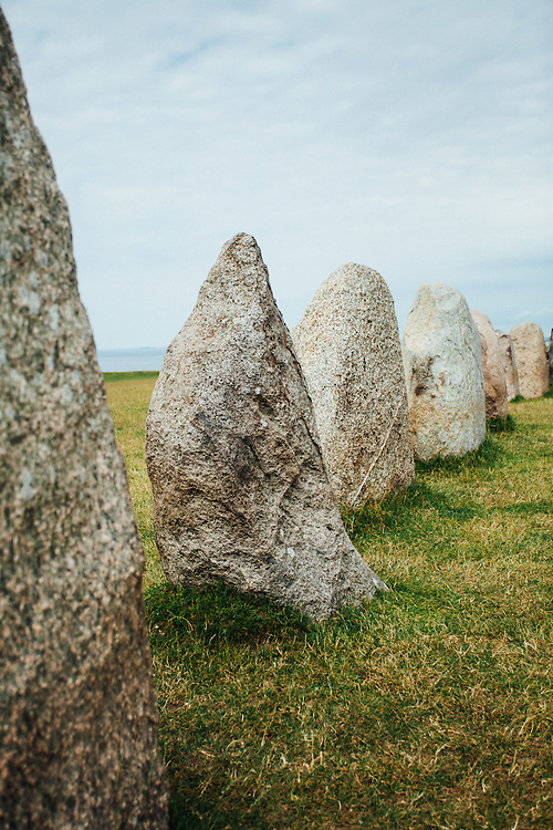 A view of Ale's stones lined up next to each other