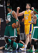 Celtics Rasheed Wallace lies on the floor while Pau Gasol celebrates in the final seconds. The Lakers defeated the Boston Celtics in game 7 of the NBA Finals  83-79 in Los Angeles, CA 06/16/2010 (John McCoy/Staff Photographer).
