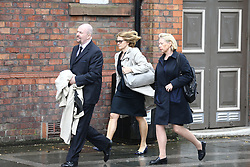 © Licensed to London News Pictures. 28/06/2017. Warrington, UK. Sue Hemming from the CPS (centre dark glasses) arrives at Parr Hall. Families of the 96 people killed at the Hillsborough disaster in 1989 will today find out if criminal charges will be brought after Prosecutors examining files identified 23 criminal suspects. Families will be informed of the decisions by Sue Hemming, CPS Head of Special Crime & Counter-Terrorism at Parr Hall in Warrington. Photo credit: Andrew McCaren/LNP