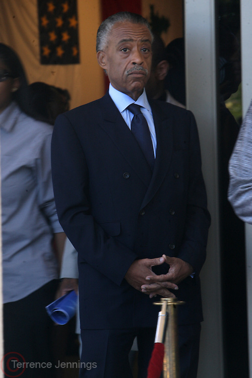 June 30, 2012, Los Angeles, CA: Rev. Al Sharpton, President, National Action Network attends the Rodney King Funeral held at Forest Lawn Cemetery at Hall Liberty on June 30, 2012 in Los Angeles, California. Rodney Glen King was an American construction worker who became well known after being beaten harshly by Los Angeles police officers during a traffic stop on 3 March 1991. The non-gulity verdict of accused Police Officers ignited the LA Riots in 1992.(Photo by Terrence Jennings)