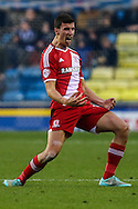 Daniel Ayala of Middlesbrough celebrates his team's second goal against Millwall to make it 0-2 during the Sky Bet Championship match at The Den, London<br /> Picture by David Horn/Focus Images Ltd +44 7545 970036<br /> 06/12/2014