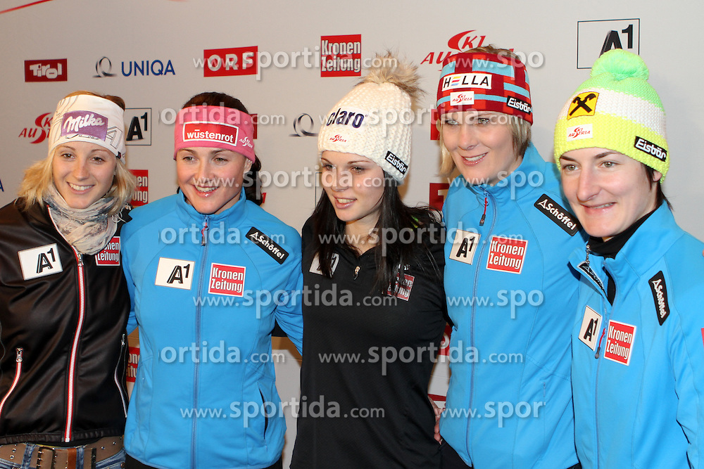 06.02.2013, Hotel Pichlmayrgut, Schladming, AUT, FIS Weltmeisterschaften Ski Alpin, Pressekonferenz OeSV, im Bild Michaela Kirchgasser, Elisabeth Goergl, Anna Fenninger, Nicole Hosp, Kathrin Zettel // Michaela Kirchgasser, Elisabeth Goergl, Anna Fenninger, Nicole Hosp, Kathrin Zettel at a press conference of the OeSV during the FIS Ski World Championships 2013 at the Media Centre, Schladming, Austria on 2013/02/06. EXPA Pictures © 2013, PhotoCredit: EXPA/ Martin Huber