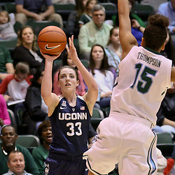 Feb 3, 2016; New Orleans, LA, USA; Connecticut Huskies guard/forward Katie Lou Samuelson (33) shoots over Tulane Green Wave guard Tene Thompson (15) during the second quarter of a game at the Devlin Fieldhouse. Mandatory Credit: Derick E. Hingle-USA TODAY Sports