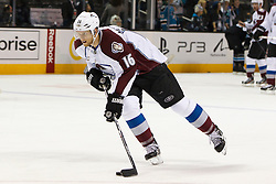 Dec 15, 2011; San Jose, CA, USA; Colorado Avalanche center Jay McClement (16) warms up before the game against the San Jose Sharks at HP Pavilion.  San Jose defeated Colorado 5-4. Mandatory Credit: Jason O. Watson-US PRESSWIRE