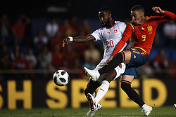 June 3, 2018 - Vila-Real, Castellon, Spain - Johan Djourou (Antalyaspor) Rodrigo Moreno (Valencia) during a International friendly match between Spain against Switzerland in La Ceramica Stadium, Villarreal, Spain, on 03 June of 2018. (Credit Image: © Jose Breton/NurPhoto via ZUMA Press)