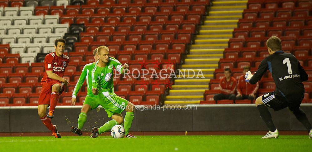 LIVERPOOL, ENGLAND - Wednesday, September 14, 2011: Liverpool's Krisztian Adorjan shoots to force an own goal to equalise the score against VfL Wolfsburg during the NextGen Series Group 2 match at Anfield. (Pic by David Rawcliffe/Propaganda)