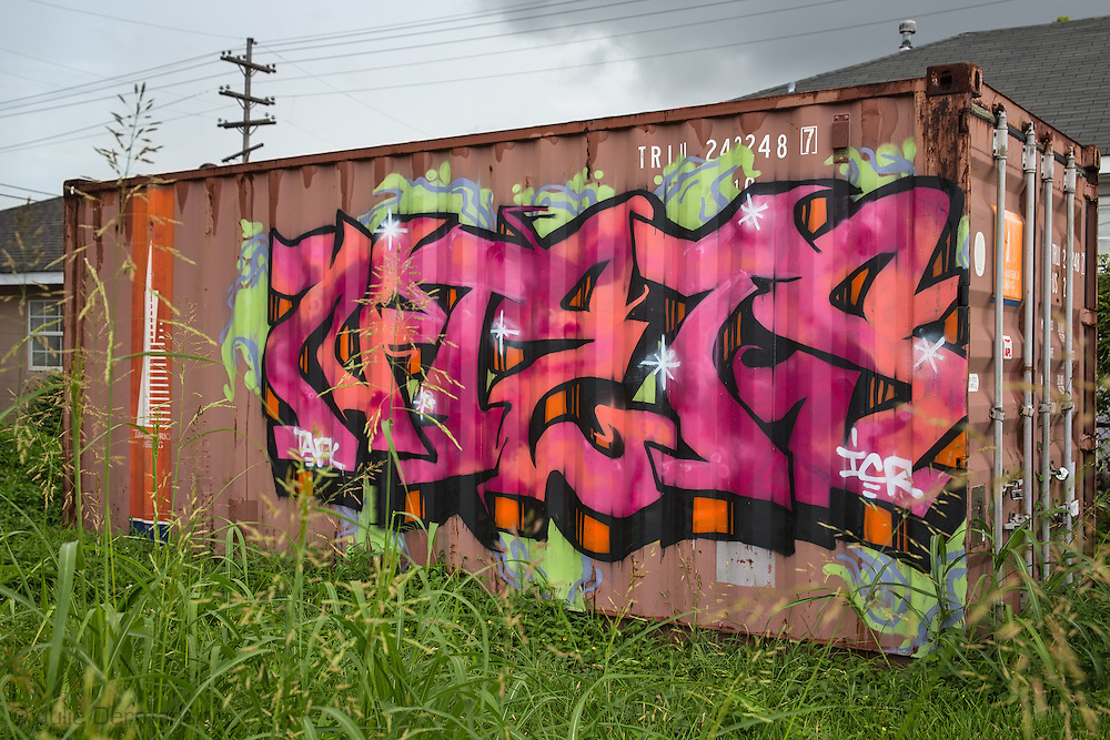 June 14, New Orleans, LA,  Graffiti covered  shipping container on Florida Ave. almost ten years after Hurricane Katrina.