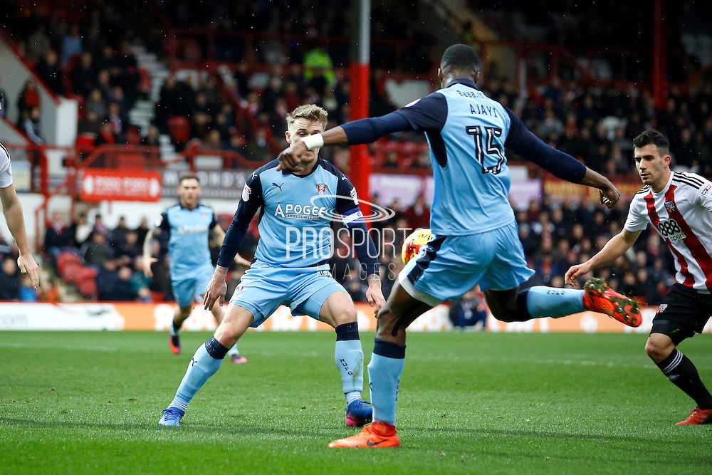 Rotherham United defender Semi Atah (15) has a shot on goal during the EFL Sky Bet Championship match between Brentford and Rotherham United at Griffin Park, London, England on 25 February 2017. Photo by Andy Walter.