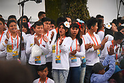BOGOTA, COLOMBIA 06 SEPT 2017: Crowds awaiting the arrival of Pope Francis at the Nunciature in Bogota, Columbia on Sept. 6, 2017.