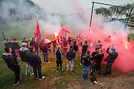 UTRECHT, eerste training FC Utrecht, voetbal, seizoen 2015-2016, 21-06-2015, trainingscomplex Zoudenbalch, supporters, fans, fanatieke aanhang, vuurwerk, sfeer.