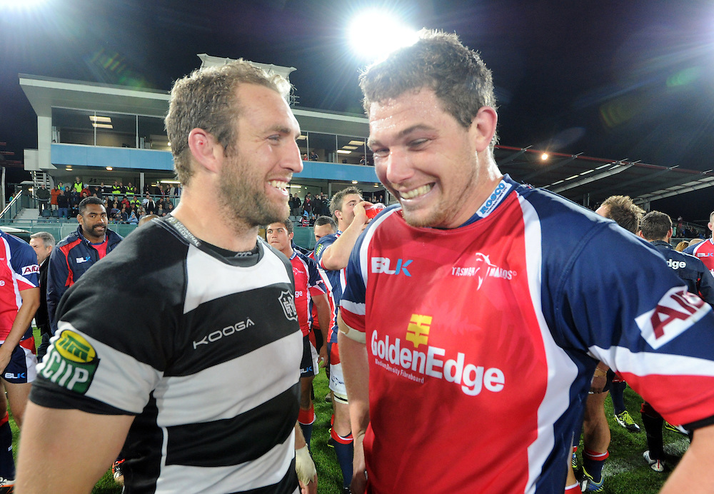 Hawkes Bays' Mike Coman, left with Tasmans' Joe Wheeler after the ITM Cup Championship Final at Trafalgar Park, Nelson, New Zealand, Friday, October 25, 2013. Credit:SNPA / Ross Setford