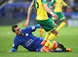 Christian Fuchs of Leicester City (L) in action - Mandatory byline: Jack Phillips/JMP - 27/02/2016 - FOOTBALL - King Power Stadium - Leicester, England - Leicester City v Norwich - Barclays Premier League