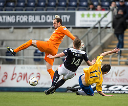 Falkirk's keeper Jamie MacDonald challenges Cowdenbeath's Callum Gallagher. <br /> Falkirk 6 v 0 Cowdenbeath, Scottish Championship game played at The Falkirk Stadium, 25/10/2014.