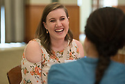 Rachel Bishop talks with her mentor during the Women's Mentoring Meet and Greet event on Sept. 4, 2018 in Walter Rotunda. Photo by Hannah Ruhoff