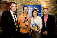 "19/7/2011.  Dermot O Connell Ulster Bank, Dominic Tighe, Propeller,   Caroline Miney, Ulster Bank and Brendan McDermott, Ulster Bank in McSwiggans for the pre show reception of Propeller's ""Comedy of Errors"" by Shakspeare in the Galway Arts Festival, sponsored by Ulster Bank. Photo:Andrew Downes"