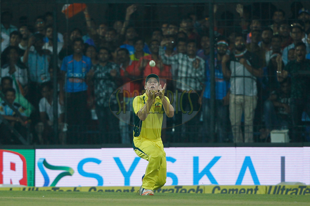Hilton Cartwright(Sub) of Australia takes a catch of Rohit Sharma of India during the 3rd One Day International between India and Australia held at the Holkar Stadium in Indore on the 24th  September 2017<br /> <br /> Photo by Deepak Malik / BCCI / SPORTZPICS