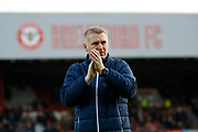 Brentford Manager / Head Coach Dean Smith during the The FA Cup 3rd round match between Brentford and Notts County at Griffin Park, London, England on 6 January 2018. Photo by Andy Walter.