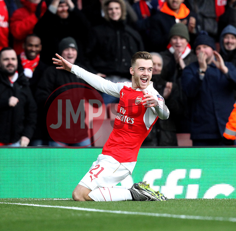 Calum Chambers of Arsenal celebrates his goal against Burnley to open the scoring - Mandatory byline: Robbie Stephenson/JMP - 30/01/2016 - FOOTBALL - Emirates Stadium - London, England - Arsenal v Burnley - FA Cup Forth Round