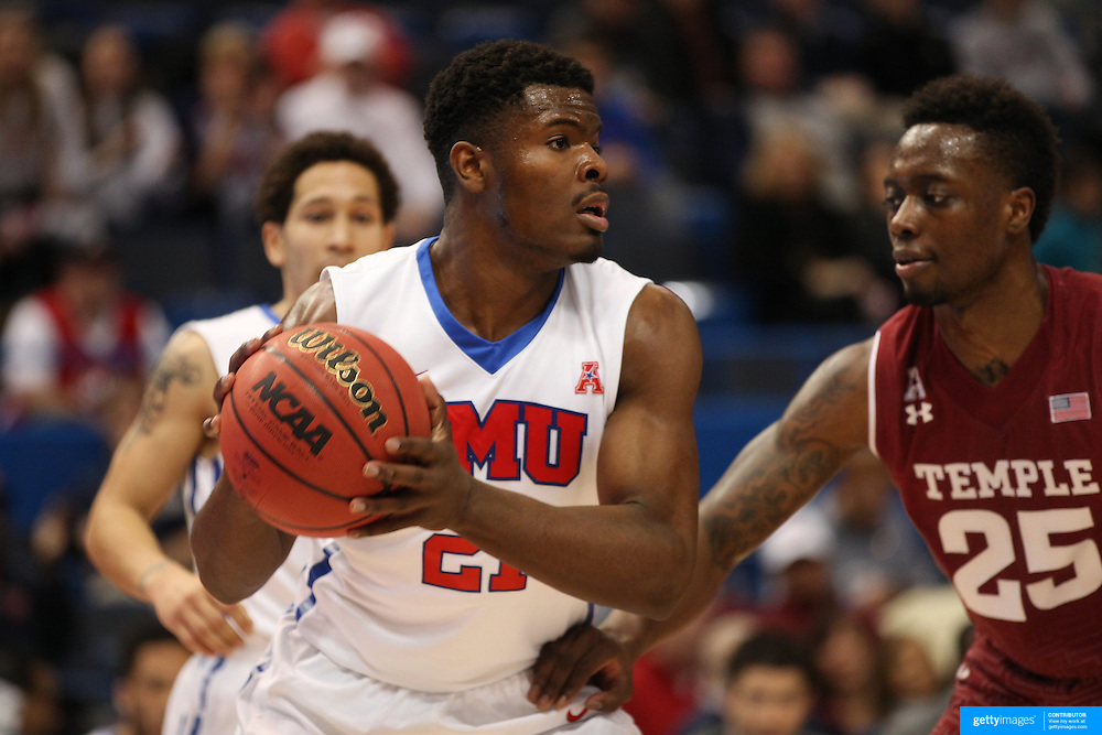 Ben Emelogu, SMU, in action during the Temple Vs SMU Semi Final game at the American Athletic Conference Men's College Basketball Championships 2015 at the XL Center, Hartford, Connecticut, USA. 14th March 2015. Photo Tim Clayton