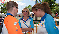 (L) Krzysztof Krukowski - Director Organizational Development Europe Eurasia Region Special Olympics after cycling competition during 2011 Special Olympics World Summer Games Athens on June 27, 2011..The idea of Special Olympics is that, with appropriate motivation and guidance, each person with intellectual disabilities can train, enjoy and benefit from participation in individual and team competitions...Greece, Athens, June 27, 2011...Picture also available in RAW (NEF) or TIFF format on special request...For editorial use only. Any commercial or promotional use requires permission...Mandatory credit: Photo by © Adam Nurkiewicz / Mediasport