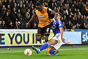 Hull City midfielder Moses Odubajo and Giles Coke of Ipswich Town during the Sky Bet Championship match between Hull City and Ipswich Town at the KC Stadium, Kingston upon Hull, England on 20 October 2015. Photo by Ian Lyall.