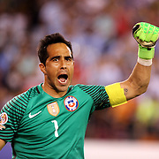 EAST RUTHERFORD, NEW JERSEY - JUNE 26:  Claudio Bravo #1 of Chile celebrates a penalty save during the penalty shoot out during the Argentina Vs Chile Final match of the Copa America Centenario USA 2016 Tournament at MetLife Stadium on June 26, 2016 in East Rutherford, New Jersey. (Photo by Tim Clayton/Corbis via Getty Images)
