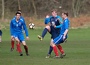 - 14/04/2018 - Riverside CSC (dark blue) v DC Athletic (blue with red socks) in the Dundee Saturday Morning Football League at Dundee, Drumgeith <br /> <br /> <br />  - © David Young - www.davidyoungphoto.co.uk - email: davidyoungphoto@gmail.com
