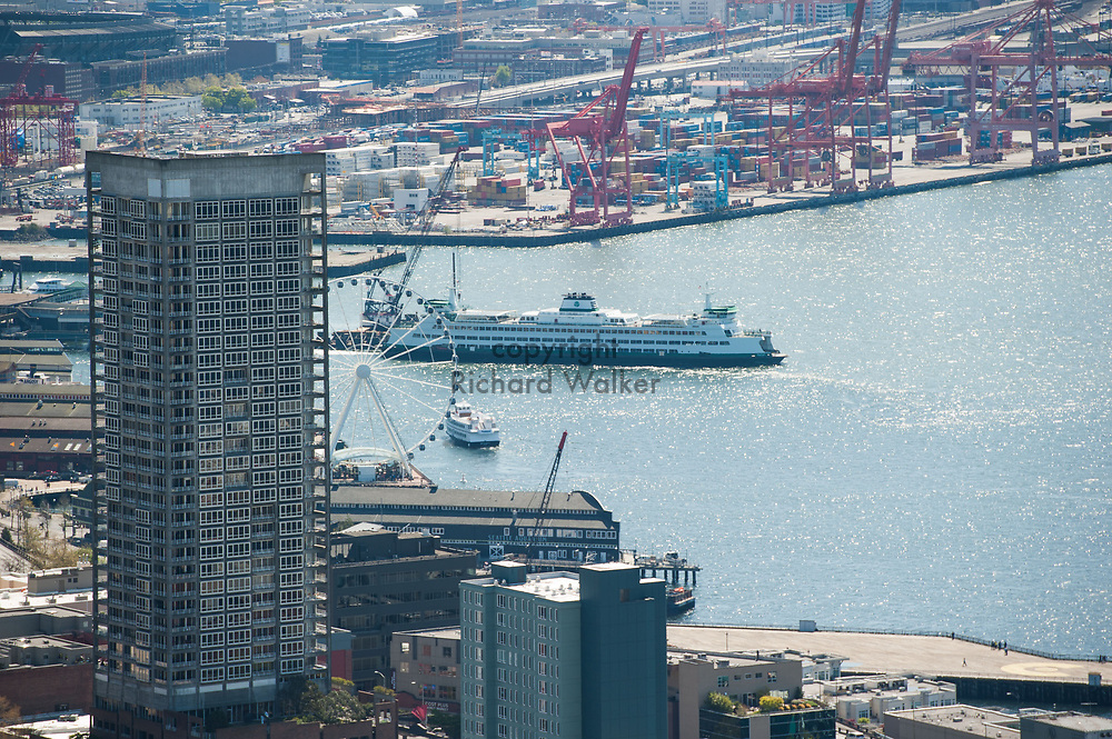 2013 April 22 - Washington State Ferry at dock as seen from the top of the Space Needle, Seattle, WA. By Richard Walker