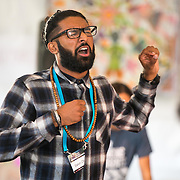 Salvin Chahal  participates in the Youth Leadership Poetry Slam at the Bioneers Conference 2015.