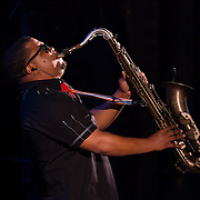 Tenor Sax player performing with The Reverend Al Green at The Music Hall in Portsmouth, NH in August of 2012