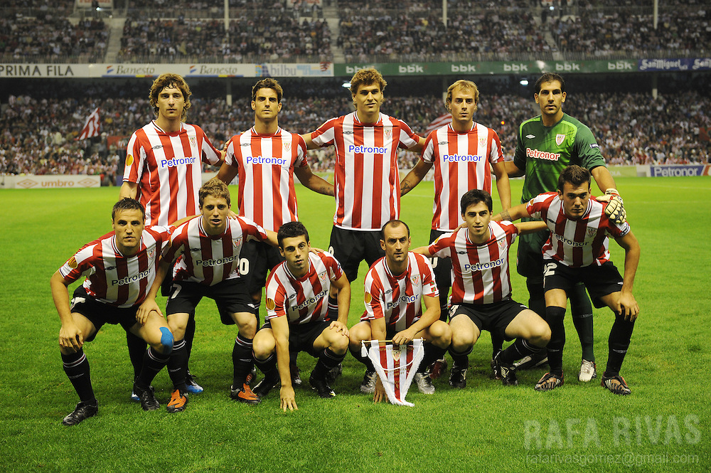Athletic Bilbao team, during a UEFA Europa League football match against FK Austria Wien, on September 17, 2009, at San Mames stadium in Bilbao. PHOTO/Rafa Rivas