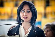 Melfi, Basilicata, Italia, 21/05/2016<br /> La candidata sindaco del Movimento 5 Stelle a Melfi, Angela Bisogno, incontra i cittadini. All'appuntamento hanno preso parte anche il vicepresidente della Camera dei Deputati, Luigi Di Maio, la deputata del M5S, Mirella Liuzzi, il senatore del M5S, Vito Petrocelli, e l'europarlamentare sempre del M5S, Piernicola Pedicini<br /> <br /> Melfi, Basilicata, Italia, 21/05/2016<br /> The Five Star Movement candidate for local elections in Melfi, Angela Bisogno, meets citizens. The event was attended by the vice president of the Chamber of Deputies, Luigi Di Maio, the member of Parliament of the M5S, Mirella Liuzzi, the senator of the M5S, Vito Petrocelli, and MEP always M5S, Piernicola Pedicini.