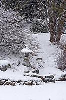 Snow falling on a stone lantern at the edge of a lake. Asticou Azalea Garden, Northeast Harbor, Maine