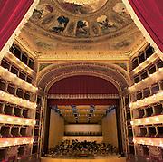 Palermo, Massimo theatre, the stage, 19th century.<br /> Palermo, teatro Massimo, palcoscenico.