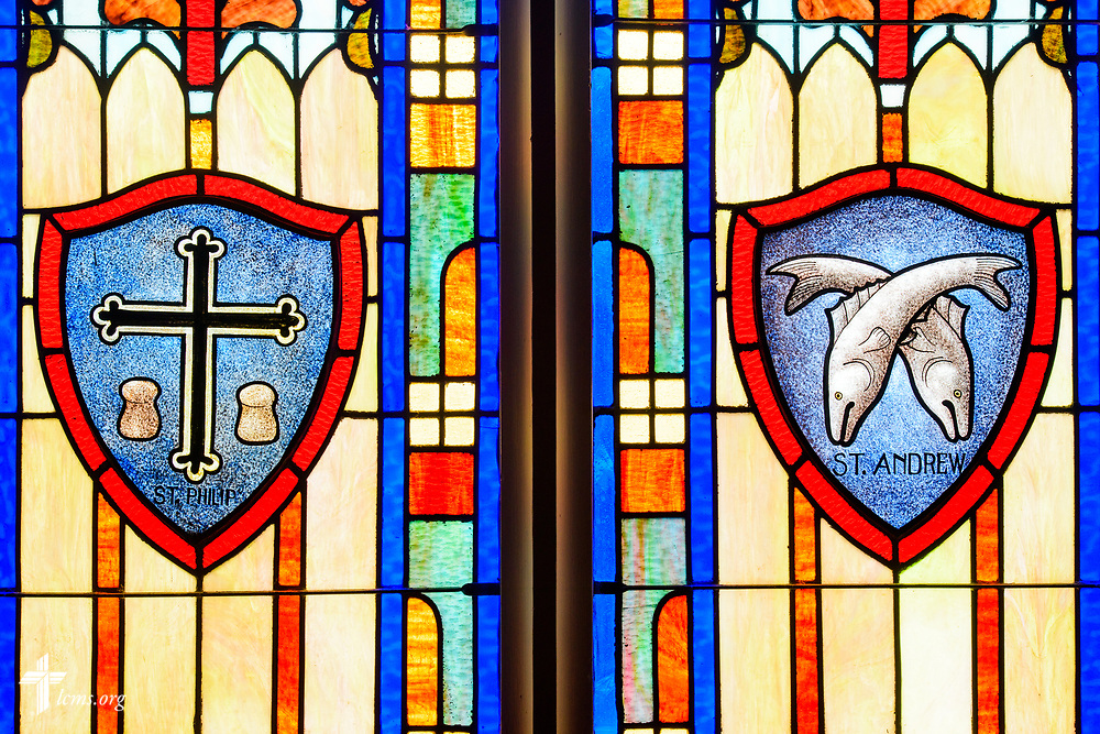 Stained glass depicting St. Philip and St. Andrew at St. Paul Lutheran Church, San Antonio, Texas on Wednesday, Aug. 2, 2017, in San Antonio. LCMS Communications/Erik M. Lunsford