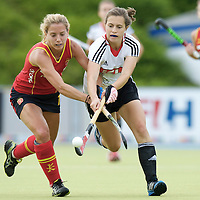MONCHENGLADBACH - Junior World Cup<br /> Pool D: Germany - Spain<br /> photo: Lea Stoeckel (white), Andrea Guerra (red).<br /> COPYRIGHT  FFU PRESS AGENCY/ FRANK UIJLENBROEK