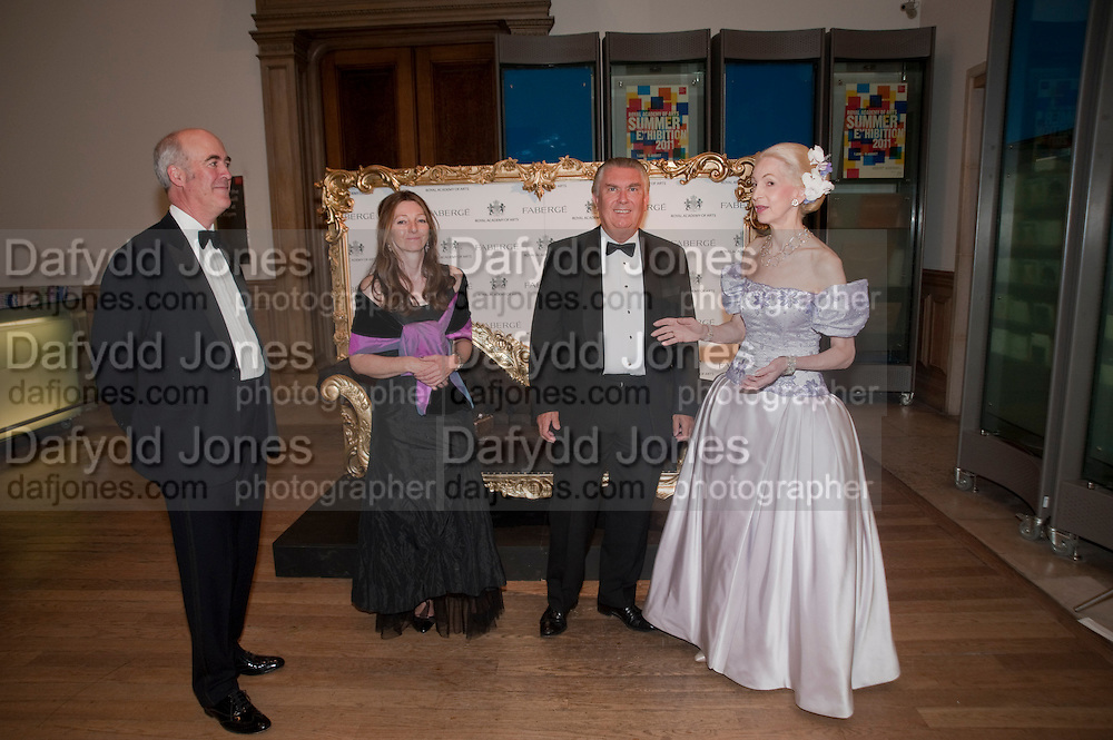 CHARLES SAUMERAZ SMITH; SARAH FABERGE; SIR PAUL JUDGE; LADY BARBARA  JUDGE, Triennial Summer Ball, Royal Academy. Piccadilly. London. 20 June 2011. <br /> <br />  , -DO NOT ARCHIVE-&copy; Copyright Photograph by Dafydd Jones. 248 Clapham Rd. London SW9 0PZ. Tel 0207 820 0771. www.dafjones.com.