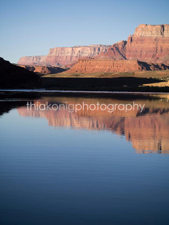 Reflections of Grand Canyon, mile zero on Colorado River, AZ