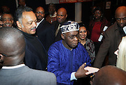 """l to r: Rev. Jesse Jackson and Former President of Nigeria, The Honorable Olusegun Obasanjo at the opening reception of The 12th Annual RainbowPUSH Wall Street Project Economic Summit """" Fallout From The Bailout: A New Day in Washington """""""