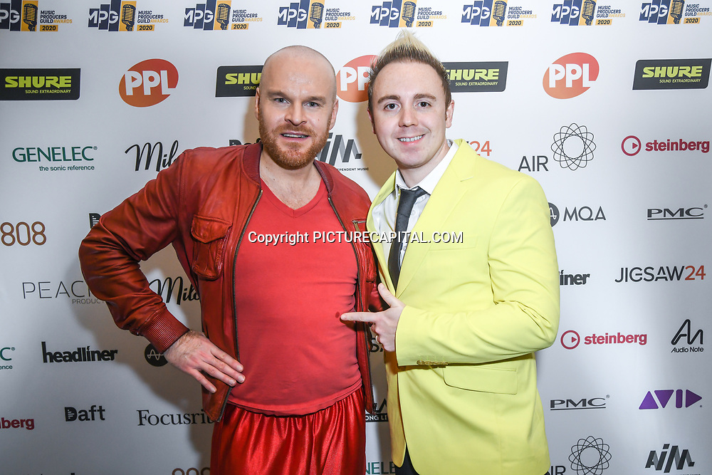 Philip Baldwin and John Galea attend The Music Producers Guild Awards at Grosvenor House, Park Lane, on 27th February 2020, London, UK.
