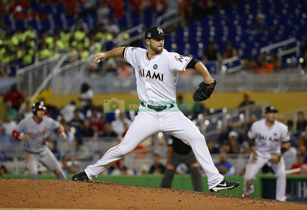 June 21, 2017 - Miami, FL, USA - Miami Marlins pitcher Kyle Barraclough pitches during the eighth inningagainst the Washington Nationals on Wednesday, June 21, 2017 at Marlins Park in Miami, Fla. (Credit Image: © David Santiago/TNS via ZUMA Wire)