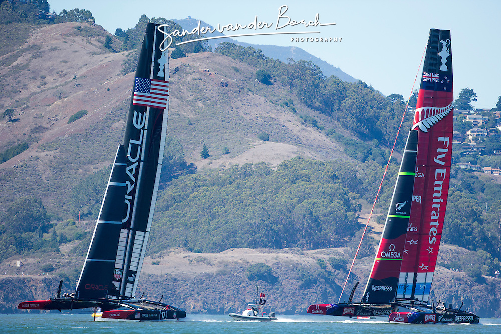 Oracle Team USA vs. Emirates Team New Zealand, Oracle Team USA wins race 16. ETNZ is still leading 8-6. September 23rd, San Francisco.