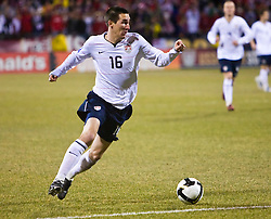 United States midfielder Sacha Kljestan (16) in action against Mexico.  The United States men's soccer team defeated the Mexican national team 2-0 in CONCACAF final group qualifying for the 2010 World Cup at Columbus Crew Stadium in Columbus, Ohio on February 11, 2009.