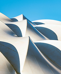 Abstract view of roof at Oriam National Sports Centre at Heriot-Watt University in Edinburgh, Scotland, United Kingdom