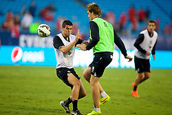 CHARLOTTE, USA - Friday, August 1, 2014: Liverpool's Conor Coady and Sebastian Coates during a training session at the Bank of America Stadium on day twelve of the club's USA Tour. (Pic by David Rawcliffe/Propaganda)