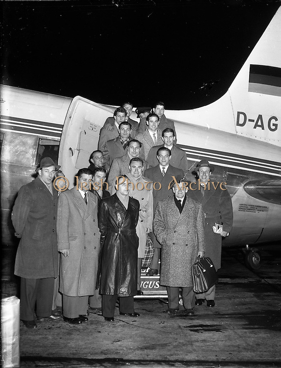 23/11/1956<br /> 11/23/1956<br /> 23 November 1956<br /> German Soccer team arriving at Dublin Airport before their game against Ireland on the 25th.
