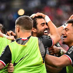 Yoann Huget of Toulouse celebrates a try during the Top 14 Final between Toulouse and Clermont at Stade de France on June 15, 2019 in Paris, France. (Photo by Dave Winter/Icon Sport)