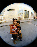 2000 August- Havana, Cuba- ' Las Chicas ' posed for image in Old Havana, Cuba