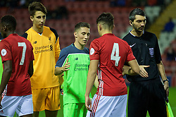 LEIGH, ENGLAND - Tuesday, October 18, 2016: Liverpool's captain Harry Wilson shakes hands with his Wales compatriot Manchester United's Regan Poole before the FA Premier League 2 Under-23 match at Leigh Sports Village. (Pic by David Rawcliffe/Propaganda)