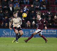 12th December 2017, Tynecastle Park, Edinburgh, Scotland; Scottish Premier League football,  Heart of Midlothian versus Dundee; Dundee's Kerr Waddell and Hearts' Harry Cochrane